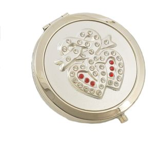 Compact Mirror - Crystal Entwined Hearts Pattern