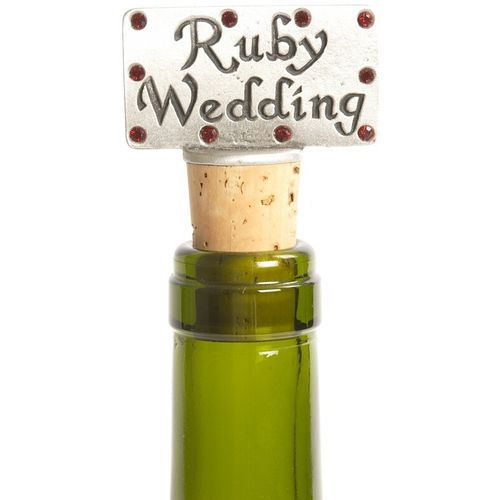 40th Ruby Wedding Anniversary Pewter Bottle Stopper.