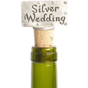 Silver Wedding bottle stopper
