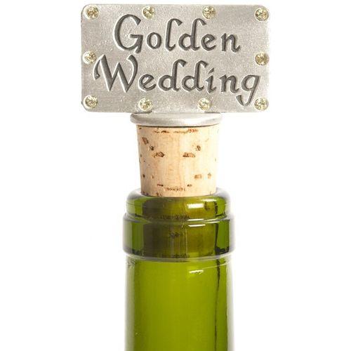 50th Golden Wedding Gift Pewter Wine Bottle Stopper.