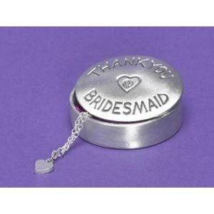 Bridesmaid pewter oval trinket box with gemstone