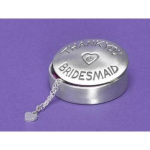 Pewter Trinket Box with Gemstone - Thank You Bridesmaid