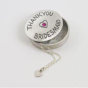 Bridesmaid Pewter oval trinket box with pink gemstone