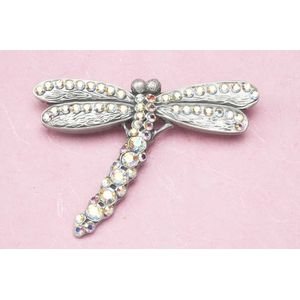 English Pewter Brooch - Jewelled Dragonfly