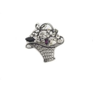English Pewter Ladies Flower Basket Brooch