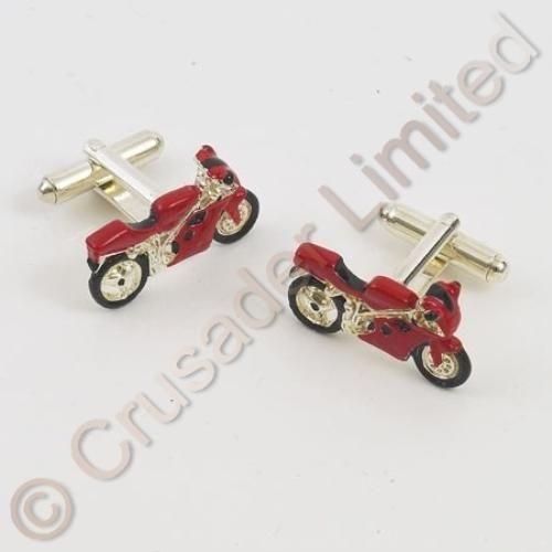 Red Racing Motor Bike Motorcycle Cufflinks