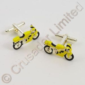 Motorbike Cufflinks yellow