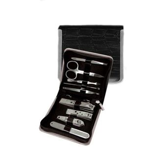 Large Manicure set in Black Mock Croc Leather Case.