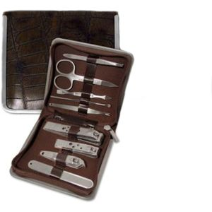 Large Manicure set in Brown Mock Croc Leather Case.