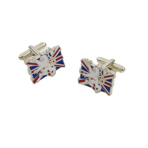 UK Union Jack Flag with White Lion Cufflinks