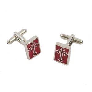 Masonic Red & Silver Cross Cufflinks