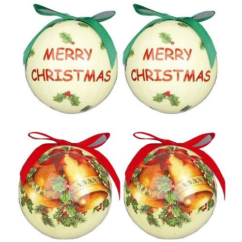 Christmas Tree Decoupage Baubles - Merry Christmas & Bells Pack of 4 Assorted