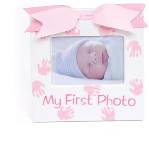 "Mud Pie Ceramic Photo Frame 3.5"" x 5"" - My First Photo (Baby Girl)"