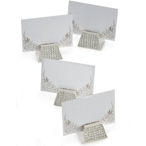 Silver Options Diamante Table Name Place Card Holders Set of 6