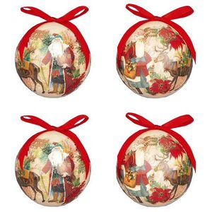Christmas Tree Baubles - Decoupage Santa Pack of 4 Assorted