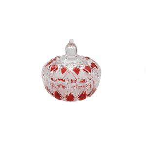 Walther Glass Ruby Saturn Lidded Bowl
