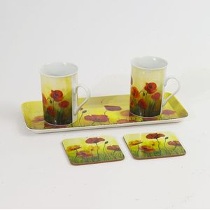 Gleneagles Tea For Two China Mugs with Coasters & Tray Set - Poppy