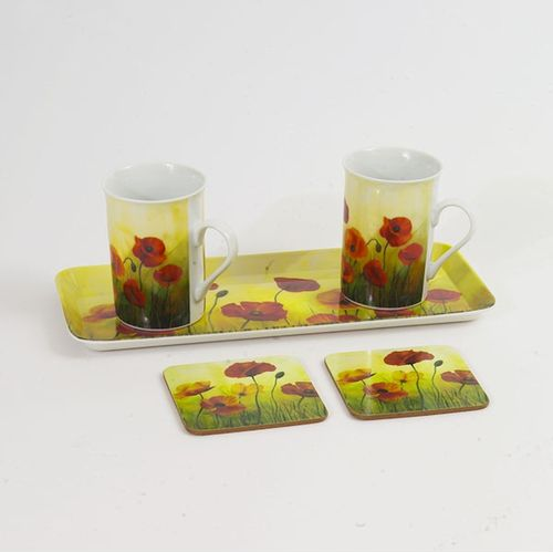 Gleneagles Fine China Tea For Two With Tray Poppy Mugs Gift Set Ref. 2106