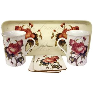 Gleneagles Tea For Two China Mugs with Coasters & Tray Set - Peony