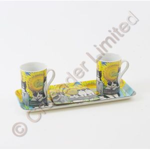 Gleneagles Tea For Two China Mugs with Coasters & Tray Set - Furry Friends Cats