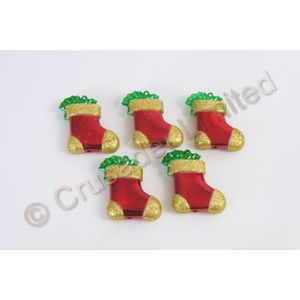 5 x Red and Gold Stocking Christmas Tree Decorations