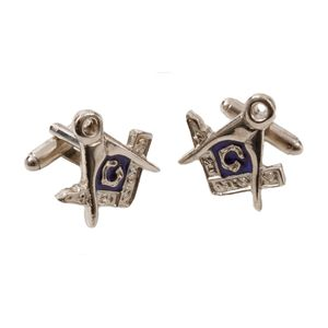 English Pewter Masonic Cufflinks - Blue