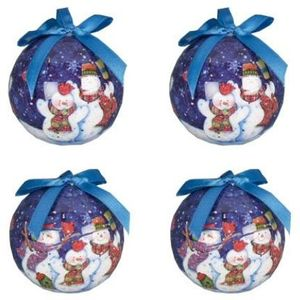 Snowmen Design Christmas Tree Baubles set of 4
