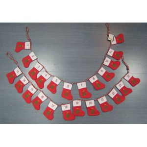 Advent Calendar, 24 mini stockings on a hanging line