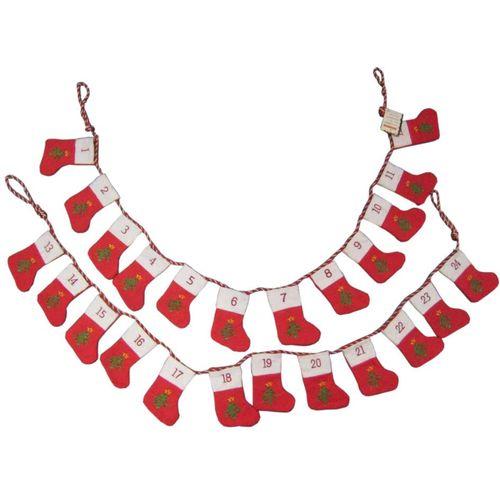 Advent Calendar, 24 mini stockings on a hanging line