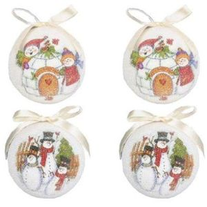 Set of 4 Snowman design Christmas Tree Baubles