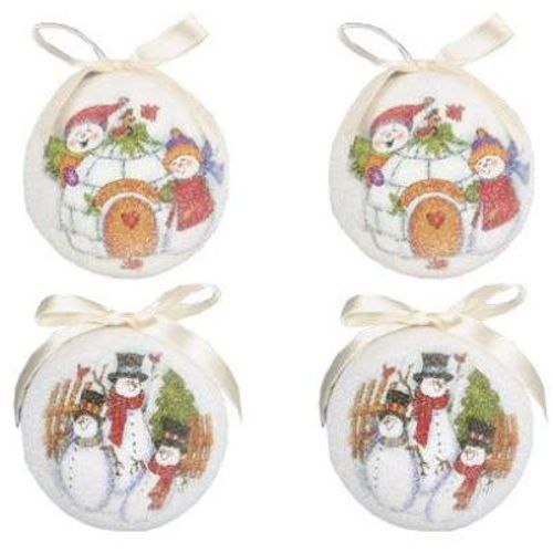 Christmas Tree Baubles - Decoupage Snowmen Pack of 4 Assorted