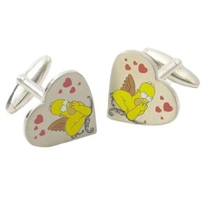 Cupid Homer Simpson Heart shape Cufflinks