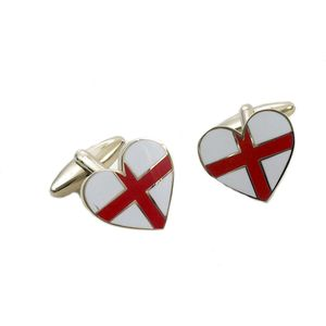 England St George Flag Heart Shaped Cufflinks