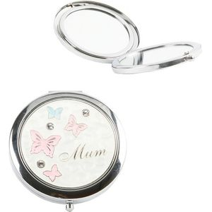 Compact Mirror with Butterflies Design - Mum