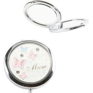 Mum Compact Mirror with Butterflies Design