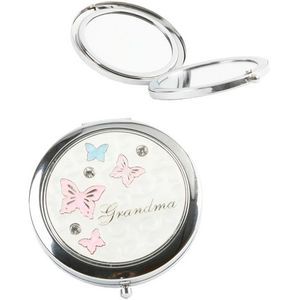 Grandma Compact Mirror with Butterfly Design