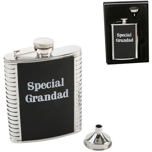 Harvey Makin 4oz Stainless Steel Hip Flask with Leatherette Trim - Grandad