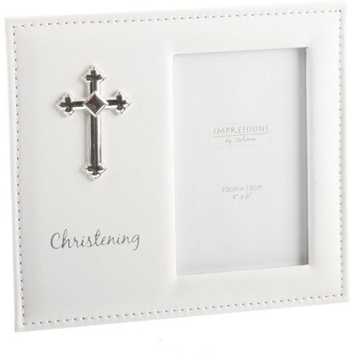 "Juliana Impressions Leatherette Photo Frame with Cross 4"" x 6"" - Christening"