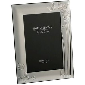 Silver Plated Photo Frame Butterflies Design 4x6""