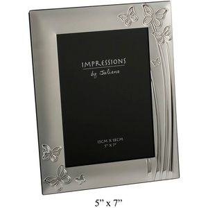 "Juliana Impressions Silver Plated Butterflies Design Photo Frame 5"" x 7"""