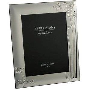 """Juliana Impressions Silver Plated Butterflies Design Photo Frame 6"""" x 8"""""""