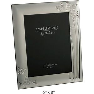 Silver Plated Photo Frame with Butterflies Design 6x8""