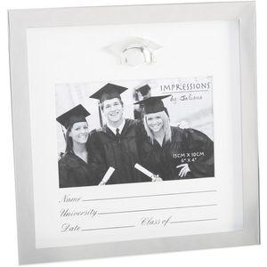 "Graduation Shiny Silver Plated Photo Frame 6x4"""