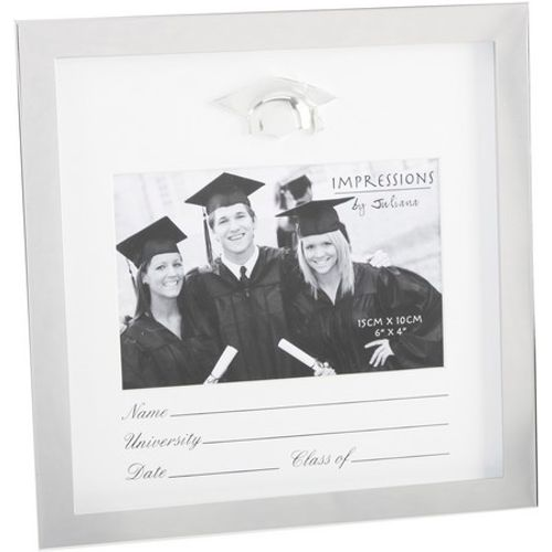 "Impressions Shiny Silver Plated Photo Frame 6"" x 4"" - Graduation"