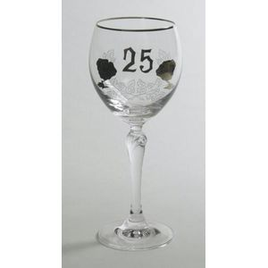 25th Wedding Anniversary Red Wine Goblets