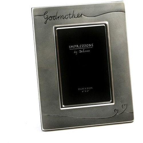 "Juliana Impressions Silver Plated Satin Finish Photo Frame 4"" x 6"" - Godmother"