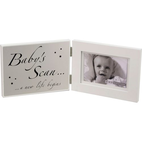 "Celebrations Hinged Matt Silver Plaque & Photo Frame 4"" x 3""  - Baby`s Scan"
