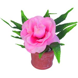 Personalised Candle with Pink Rose in pot