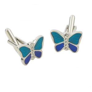 Blue Butterfly Cufflinks - two tone