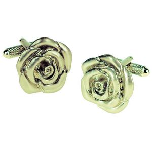 Rose Flower Cufflinks - Silver Finish